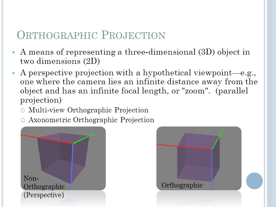O RTHOGRAPHIC P ROJECTION A means of representing a three-dimensional (3D) object in two dimensions (2D) A perspective projection with a hypothetical