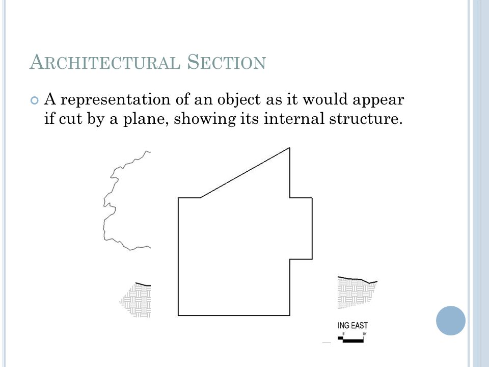 A RCHITECTURAL S ECTION A representation of an object as it would appear if cut by a plane, showing its internal structure.