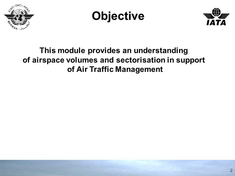 Objective 2 This module provides an understanding of airspace volumes and sectorisation in support of Air Traffic Management