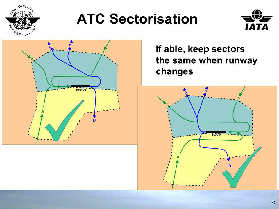 ATC Sectorisation 21 If able, keep sectors the same when runway changes