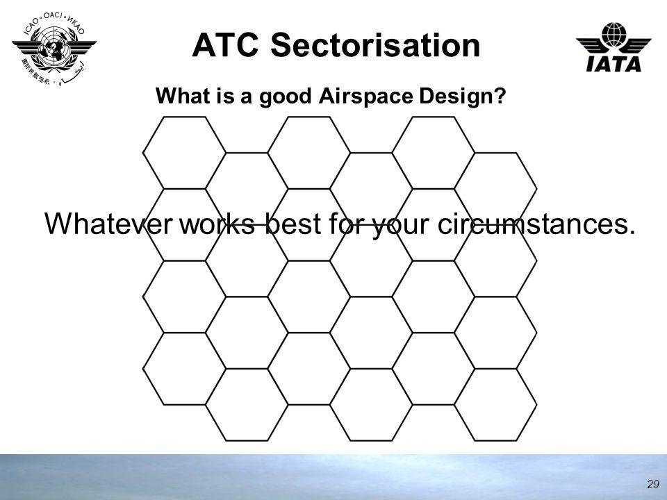 ATC Sectorisation 29 What is a good Airspace Design Whatever works best for your circumstances.