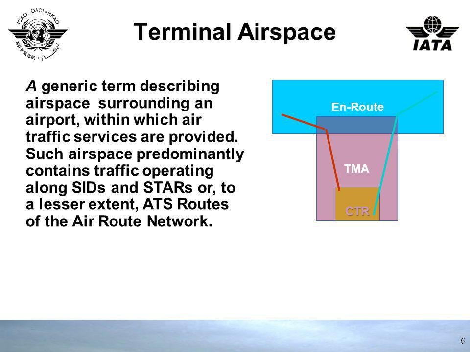 6 En-Route CTR TMA A generic term describing airspace surrounding an airport, within which air traffic services are provided.