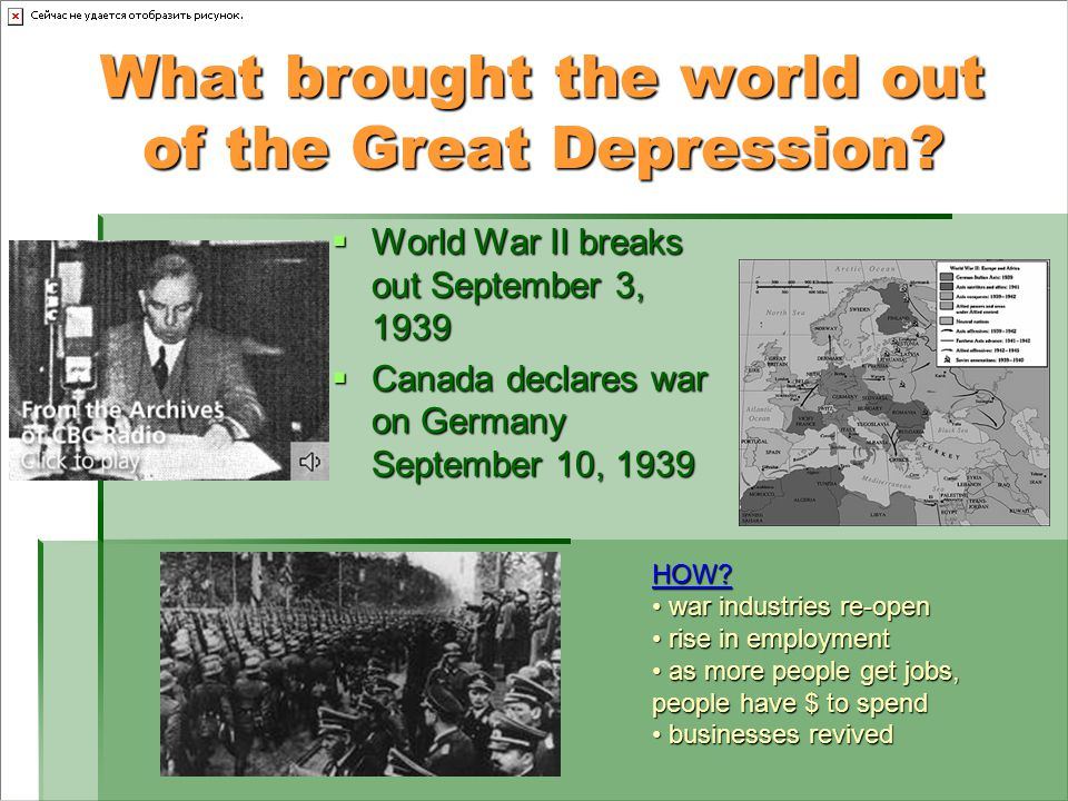 What brought the world out of the Great Depression.
