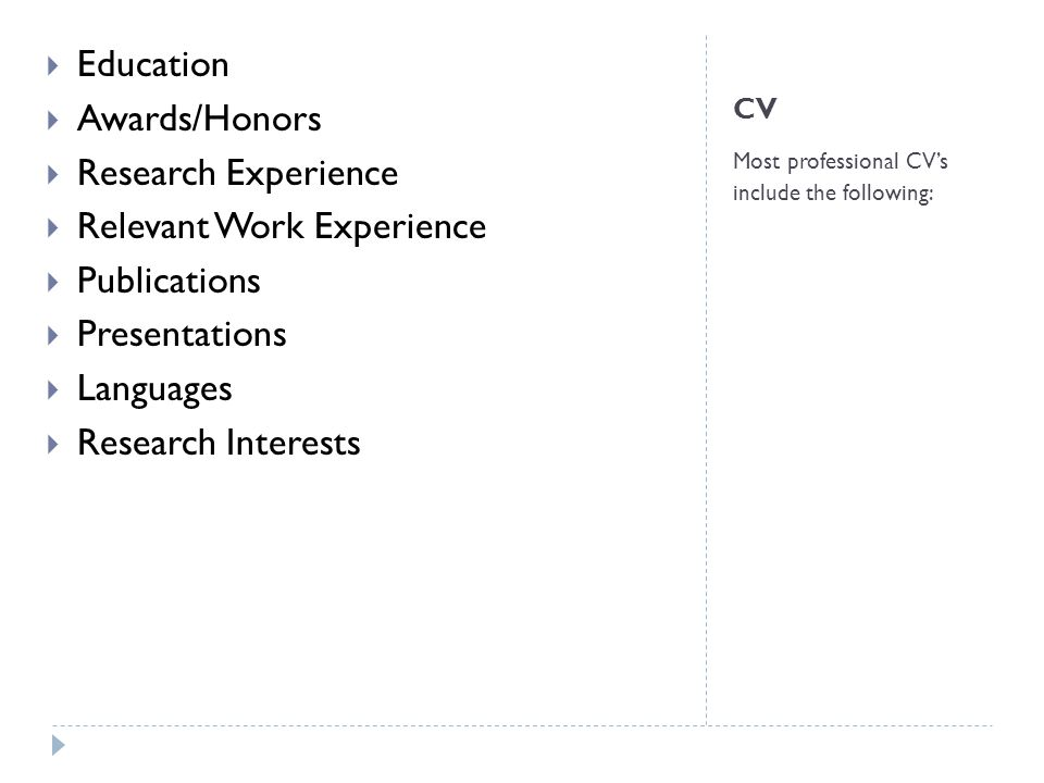 CV Most professional CVs include the following: Education Awards/Honors Research Experience Relevant Work Experience Publications Presentations Langua