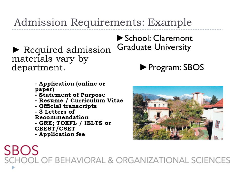 Admission Requirements: Example Required admission materials vary by department.