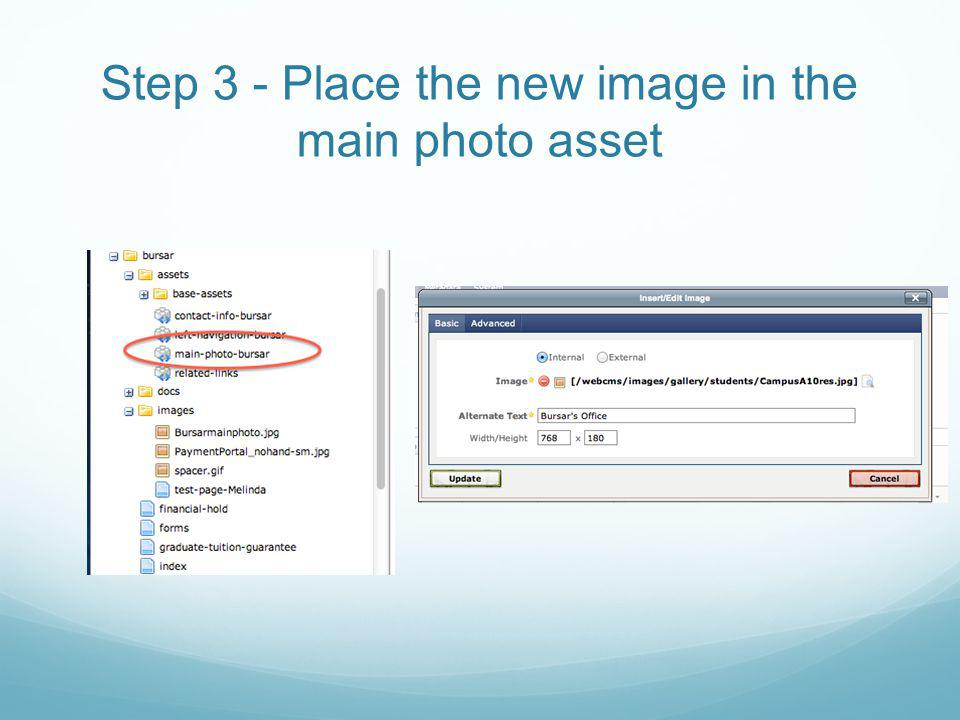 Step 3 - Place the new image in the main photo asset