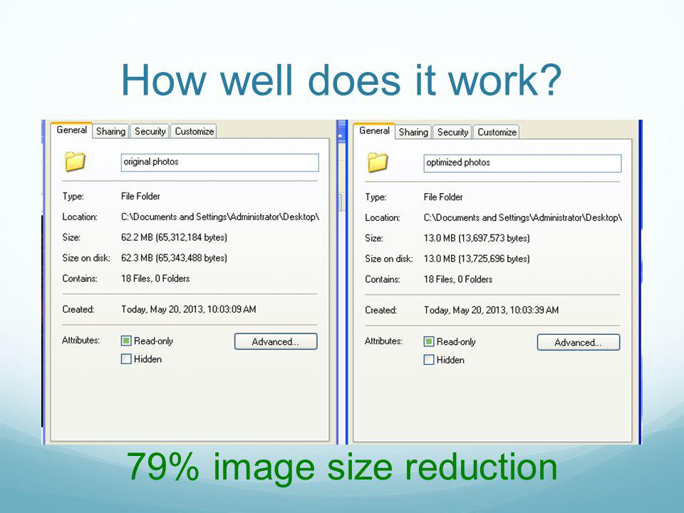 How well does it work 79% image size reduction
