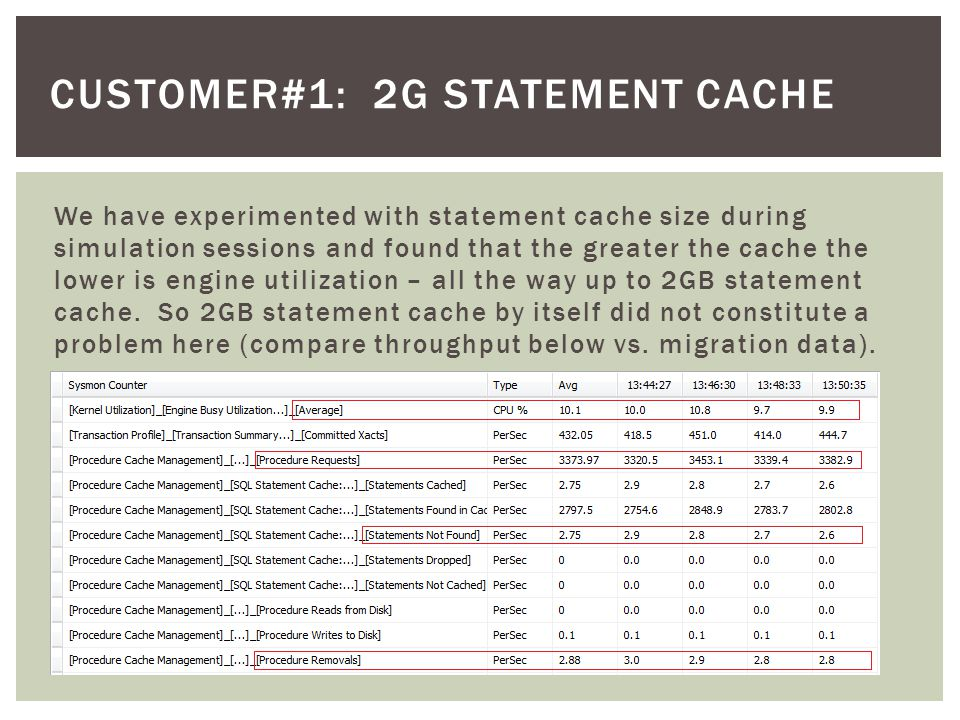 CUSTOMER#1: 2G STATEMENT CACHE We have experimented with statement cache size during simulation sessions and found that the greater the cache the lower is engine utilization – all the way up to 2GB statement cache.