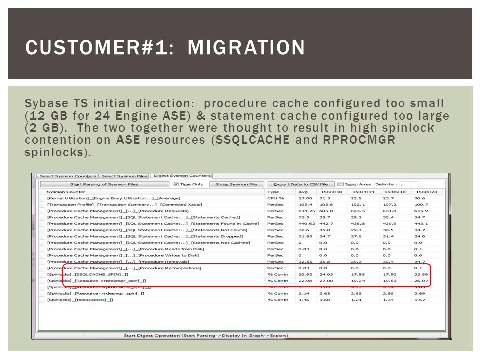 CUSTOMER#1: MIGRATION Sybase TS initial direction: procedure cache configured too small (12 GB for 24 Engine ASE) & statement cache configured too large (2 GB).