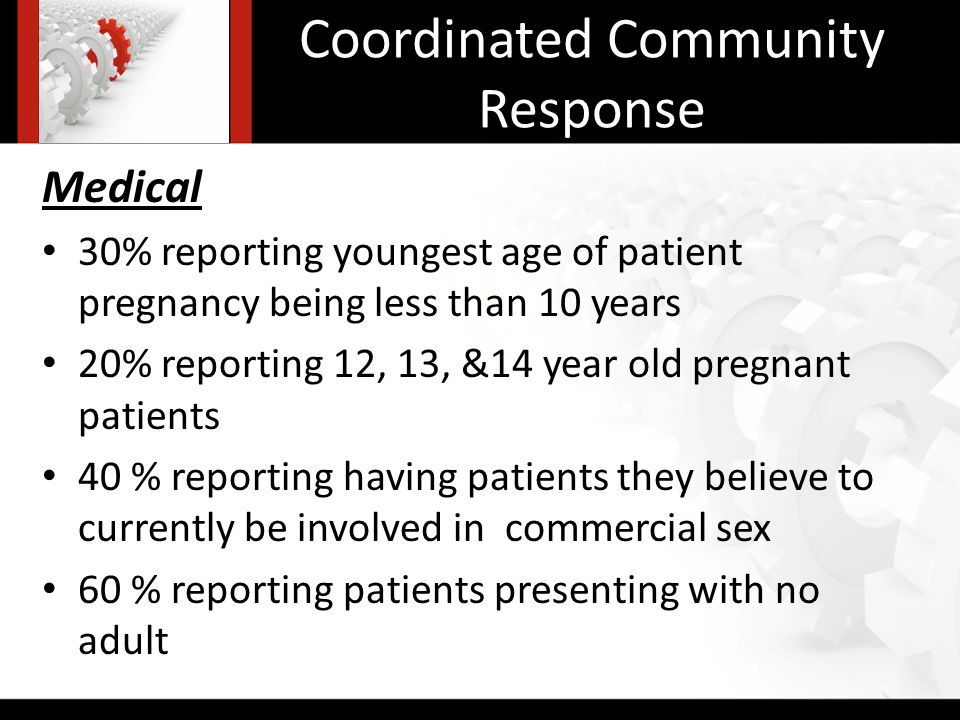 Coordinated Community Response Medical 30% reporting youngest age of patient pregnancy being less than 10 years 20% reporting 12, 13, &14 year old pregnant patients 40 % reporting having patients they believe to currently be involved in commercial sex 60 % reporting patients presenting with no adult