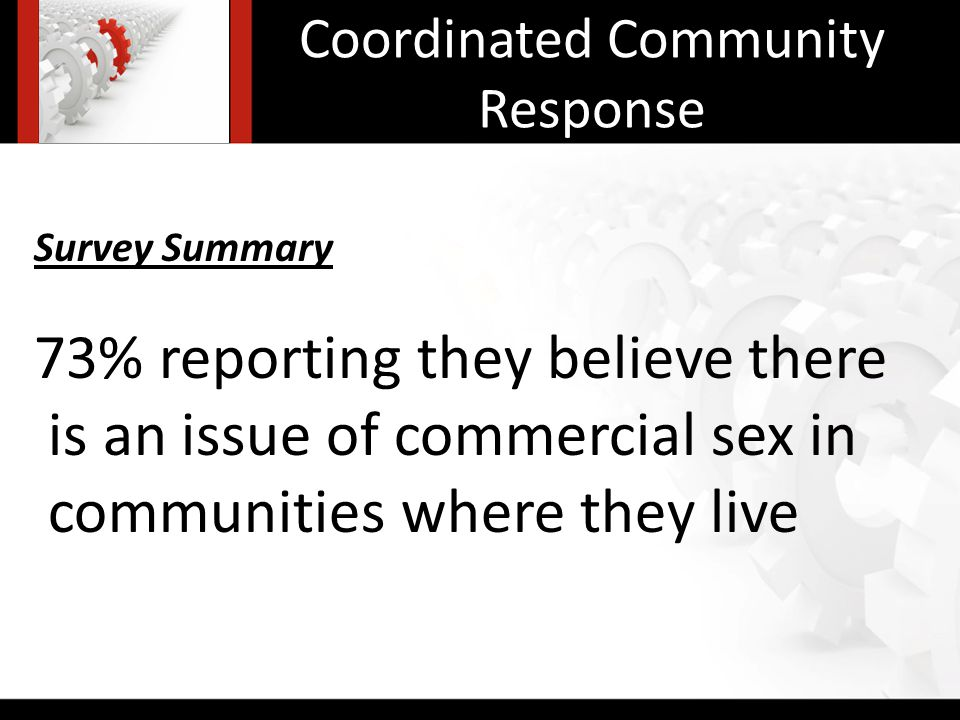 Coordinated Community Response Survey Summary 73% reporting they believe there is an issue of commercial sex in communities where they live
