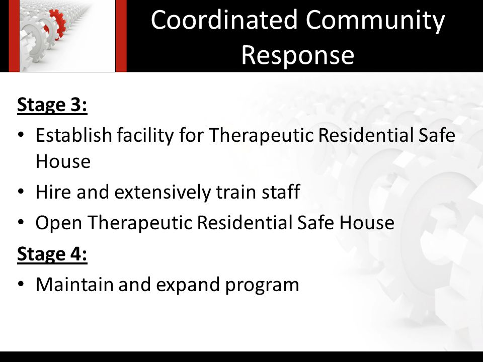 Coordinated Community Response Stage 3: Establish facility for Therapeutic Residential Safe House Hire and extensively train staff Open Therapeutic Residential Safe House Stage 4: Maintain and expand program