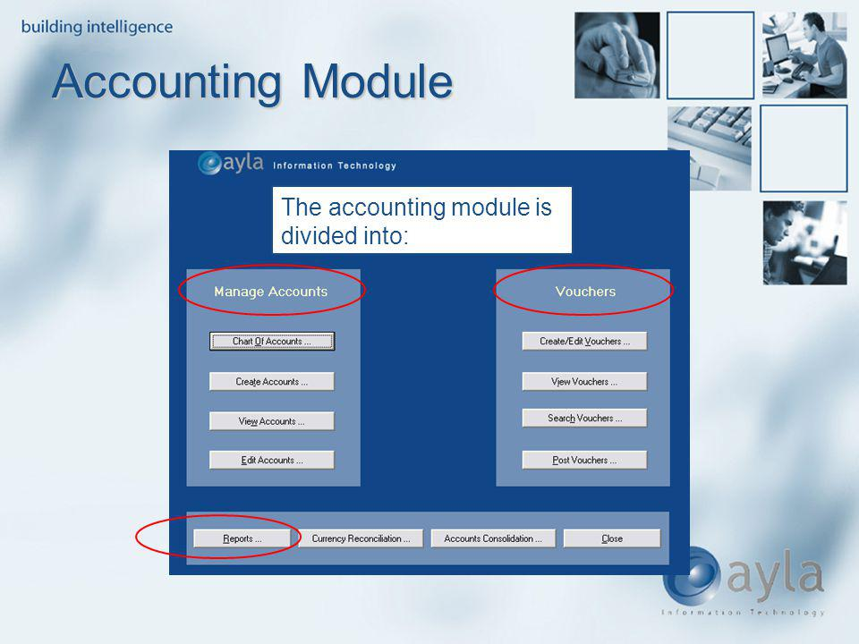 Accounting Module The accounting module is divided into: