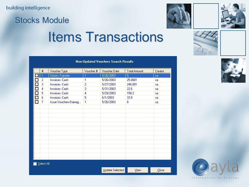 Items Transactions Stocks Module