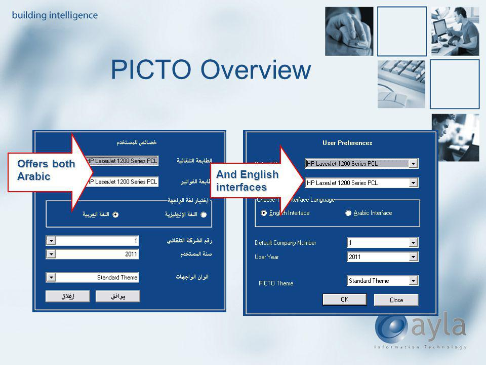 PICTO Overview And English interfaces Offers both Arabic