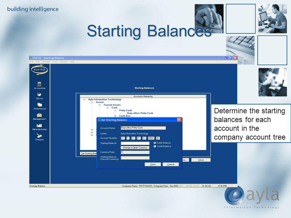 Determine the starting balances for each account in the company account tree Starting Balances Starting Balances