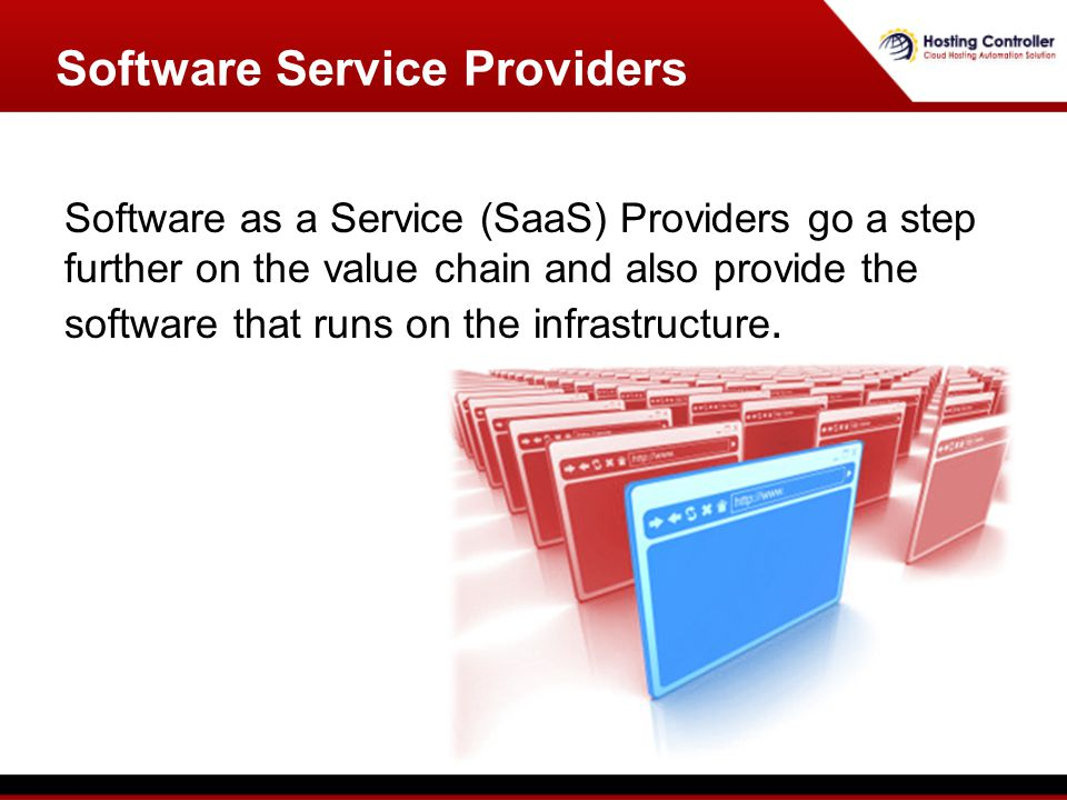 Software as a Service (SaaS) Providers go a step further on the value chain and also provide the software that runs on the infrastructure. Software Se