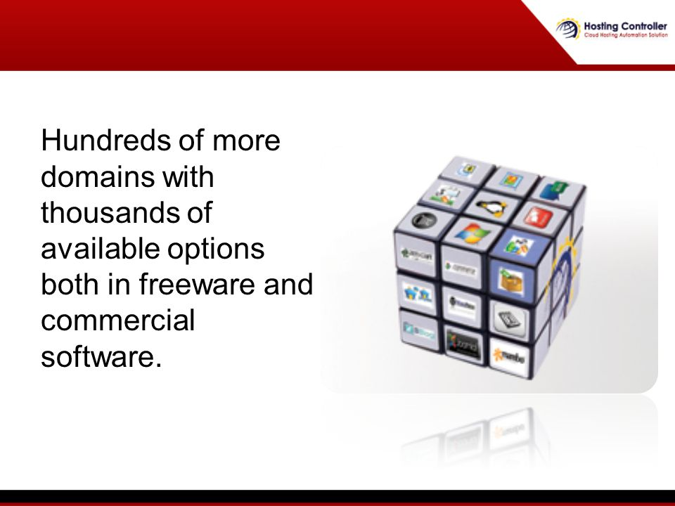 Hundreds of more domains with thousands of available options both in freeware and commercial software.