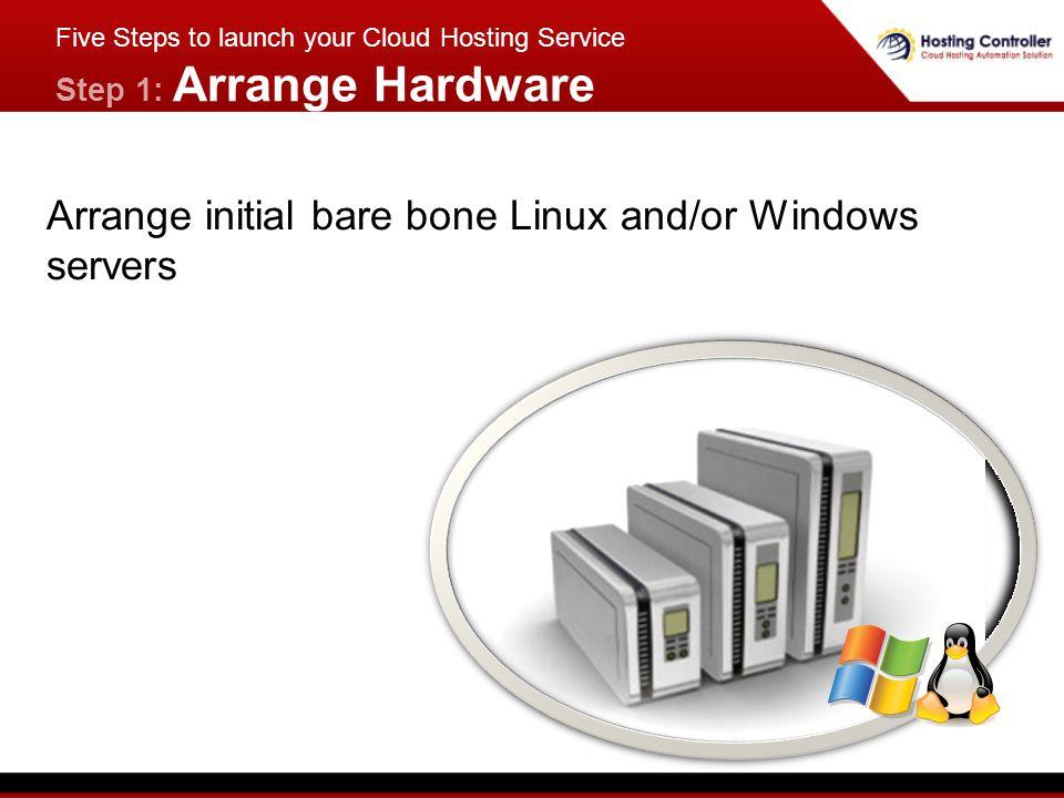 Five Steps to launch your Cloud Hosting Service Step 1: Arrange Hardware Arrange initial bare bone Linux and/or Windows servers