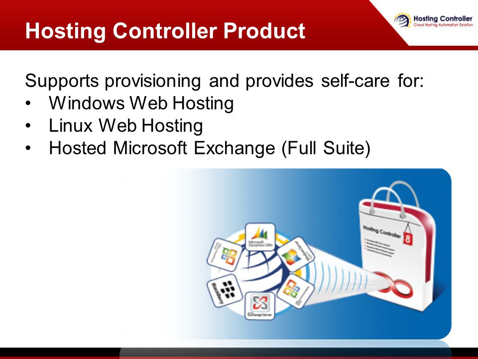 Supports provisioning and provides self-care for: Windows Web Hosting Linux Web Hosting Hosted Microsoft Exchange (Full Suite) Hosting Controller Product