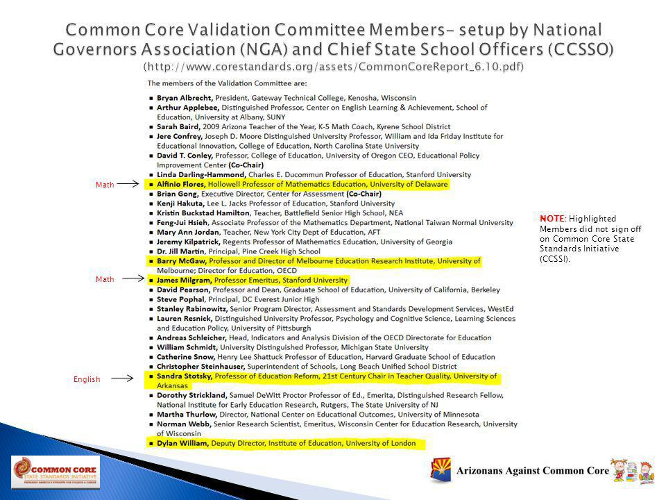 NOTE: Highlighted Members did not sign off on Common Core State Standards Initiative (CCSSI). Math English