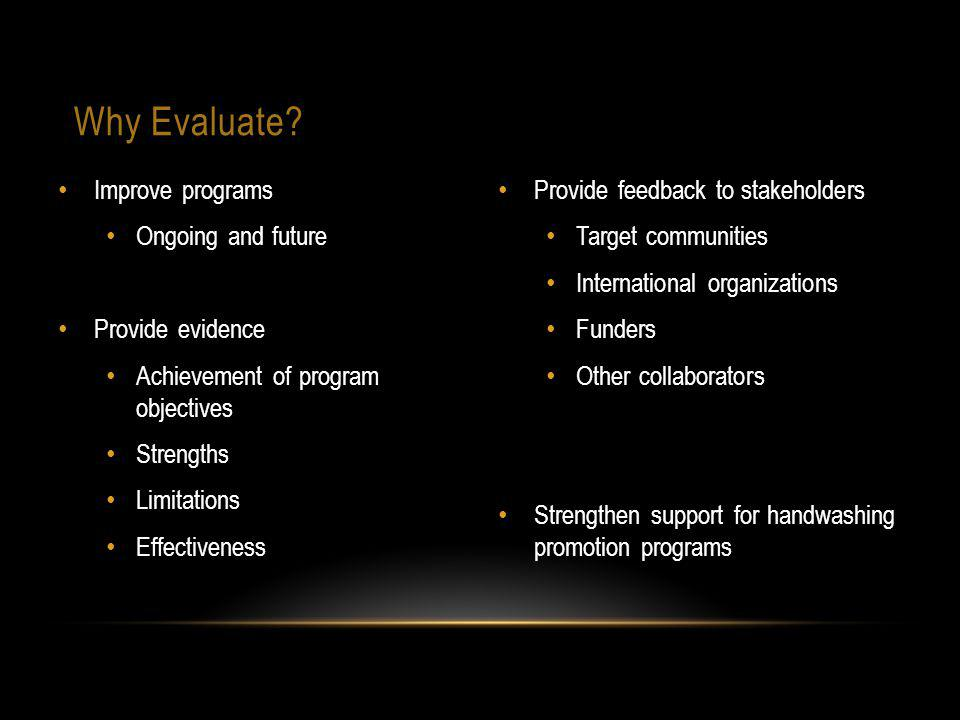 Why Evaluate? Improve programs Ongoing and future Provide evidence Achievement of program objectives Strengths Limitations Effectiveness Provide feedb
