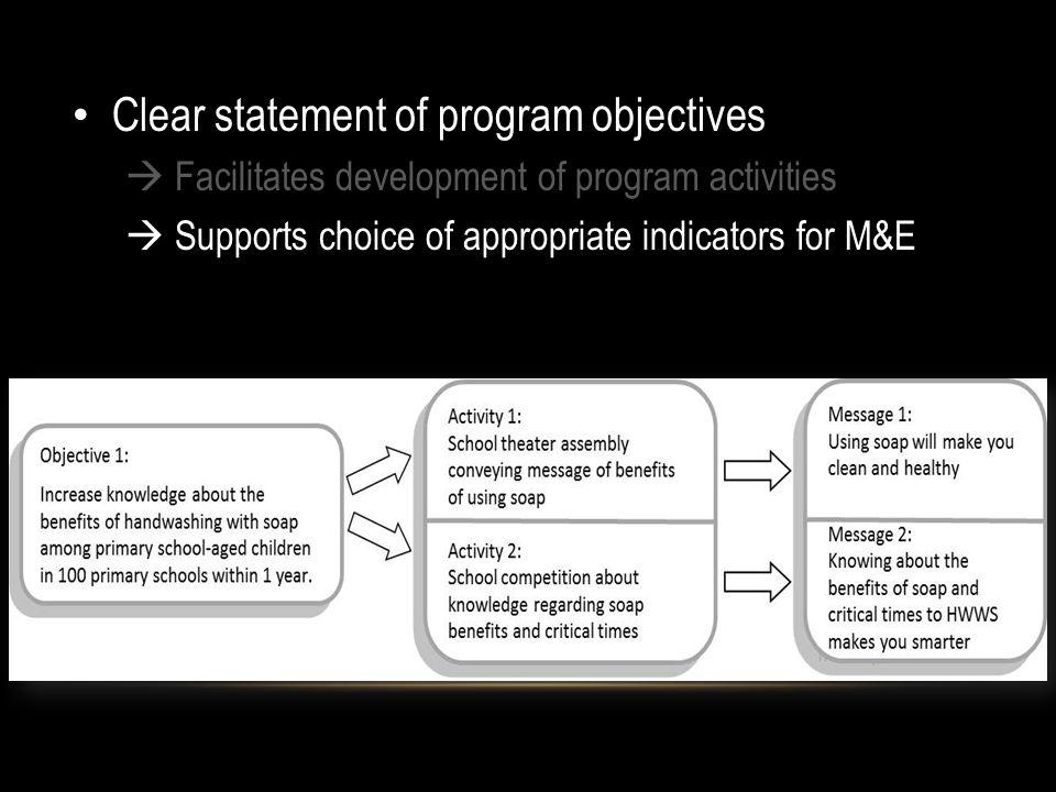Clear statement of program objectives Facilitates development of program activities Supports choice of appropriate indicators for M&E
