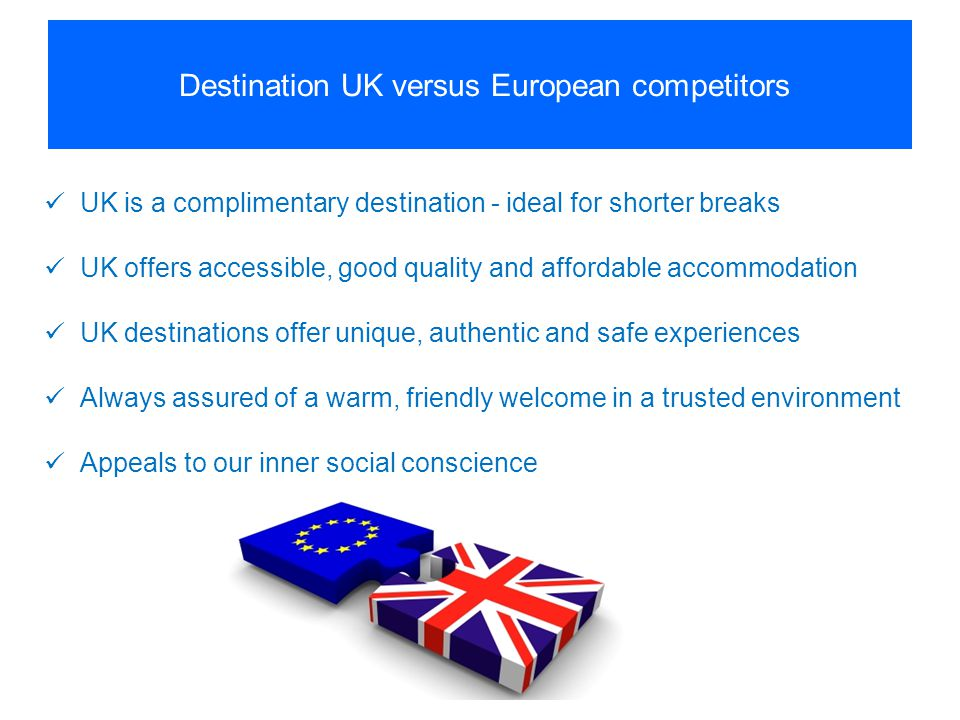 Destination UK versus European competitors UK is a complimentary destination - ideal for shorter breaks UK offers accessible, good quality and afforda