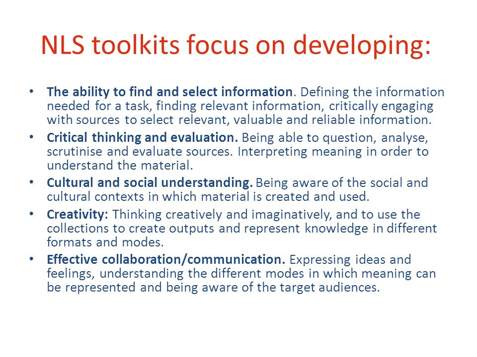 NLS toolkits focus on developing: The ability to find and select information.