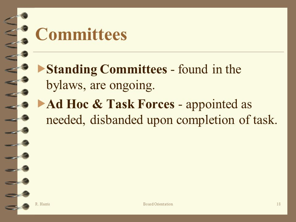 R. HarrisBoard Orientation18 Committees Standing Committees - found in the bylaws, are ongoing.