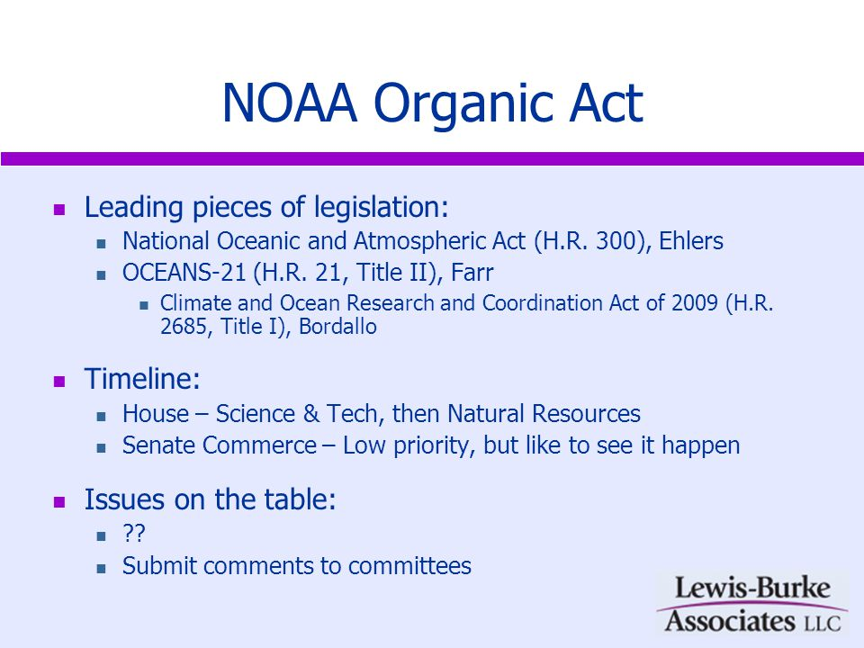 Hurricane Research Leading pieces of legislation: National Hurricane Research Initiative Act of 2009 H.R.