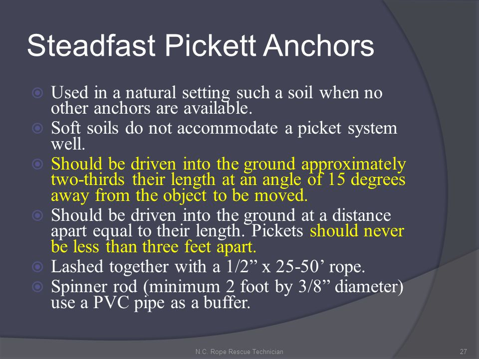 Steadfast Pickett Anchors Used in a natural setting such a soil when no other anchors are available. Soft soils do not accommodate a picket system wel