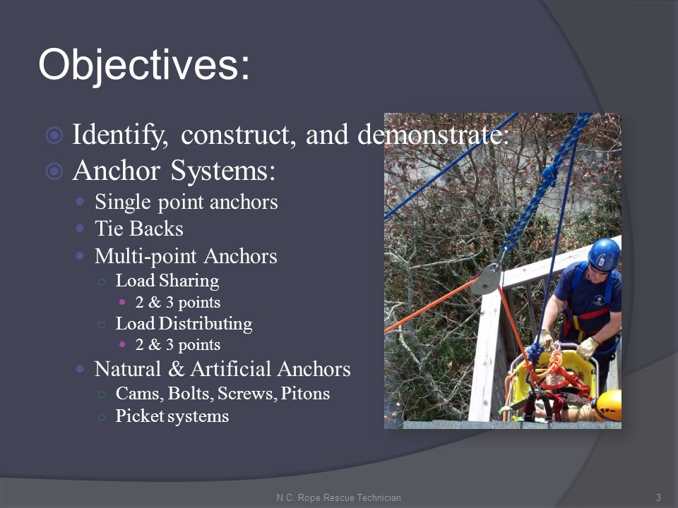 Anchors: Secure ropes, hardware and or software to a solid object.