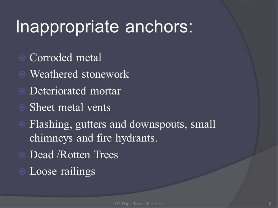 Inappropriate anchors: Corroded metal Weathered stonework Deteriorated mortar Sheet metal vents Flashing, gutters and downspouts, small chimneys and f