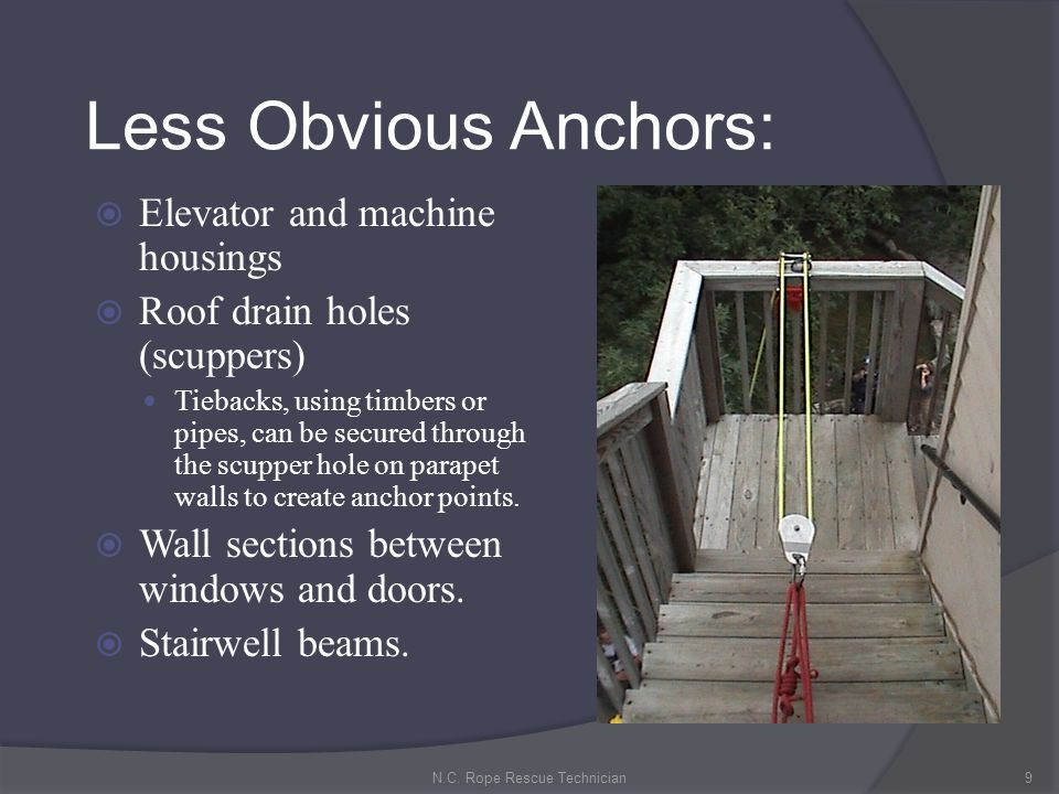 Back-up Anchors Backing up a primary anchor creates redundant anchors for the purpose of safety.