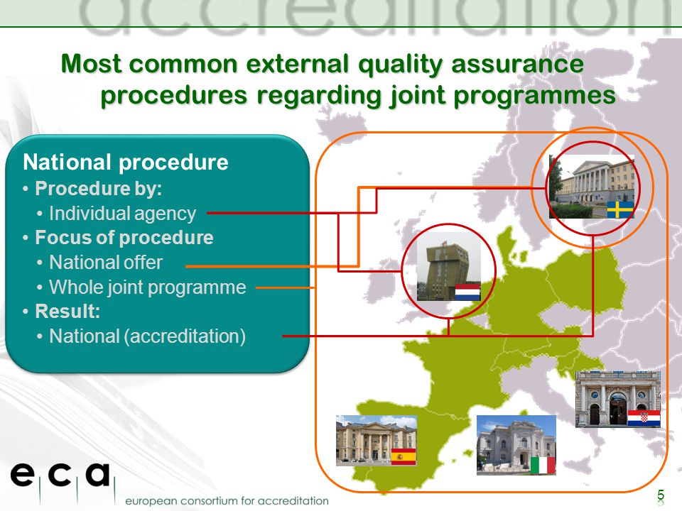 Most common external quality assurance procedures regarding joint programmes National procedure Procedure by: Individual agency Focus of procedure National offer Whole joint programme Result: National (accreditation) National procedure Procedure by: Individual agency Focus of procedure National offer Whole joint programme Result: National (accreditation)