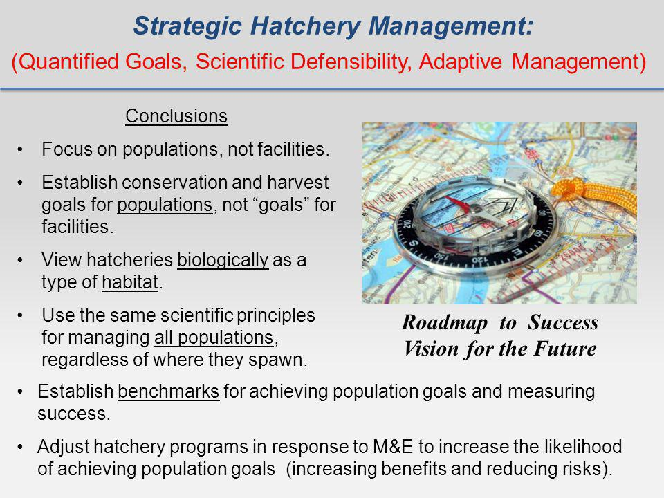 Strategic Hatchery Management: Roadmap to Success Vision for the Future (Quantified Goals, Scientific Defensibility, Adaptive Management) Conclusions Focus on populations, not facilities.