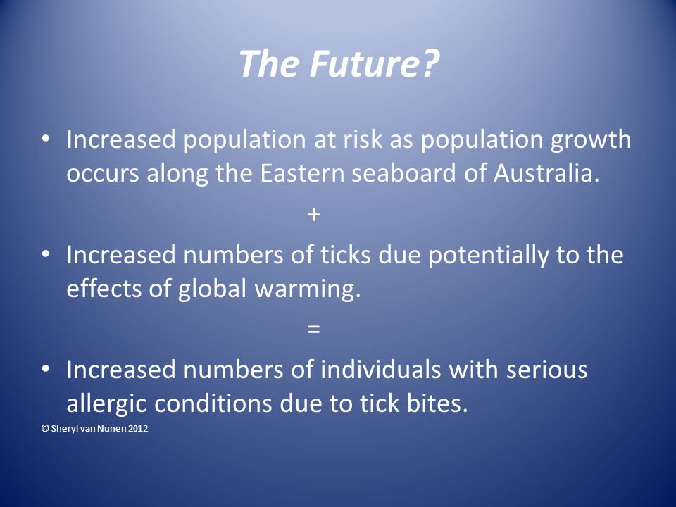 The Future? Increased population at risk as population growth occurs along the Eastern seaboard of Australia. + Increased numbers of ticks due potenti