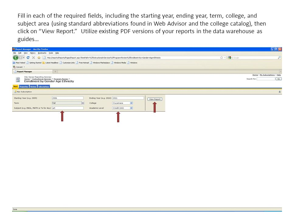 Fill in each of the required fields, including the starting year, ending year, term, college, and subject area (using standard abbreviations found in Web Advisor and the college catalog), then click on View Report.