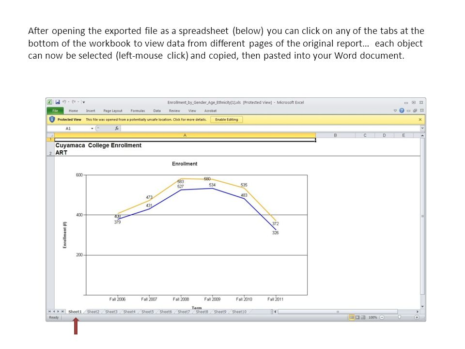 After opening the exported file as a spreadsheet (below) you can click on any of the tabs at the bottom of the workbook to view data from different pages of the original report… each object can now be selected (left-mouse click) and copied, then pasted into your Word document.