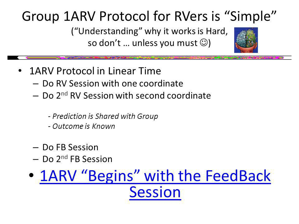 Group 1ARV Protocol for RVers is Simple (Understanding why it works is Hard, so dont … unless you must ) 1ARV Protocol in Linear Time – Do RV Session