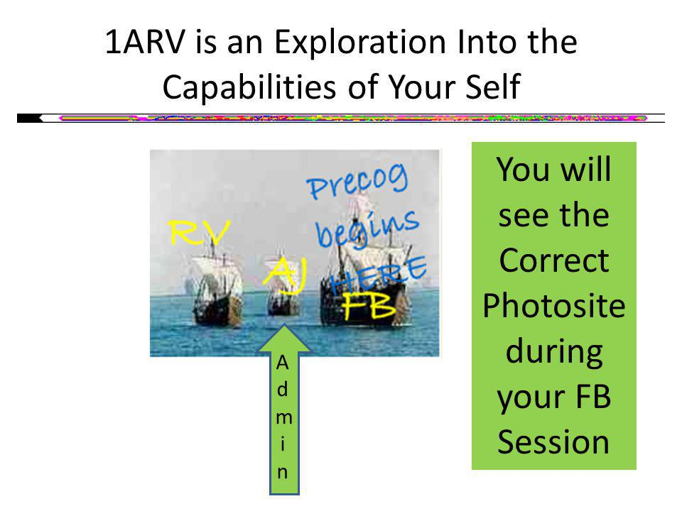 1ARV is an Exploration Into the Capabilities of Your Self You will see the Correct Photosite during your FB Session AdminAdmin