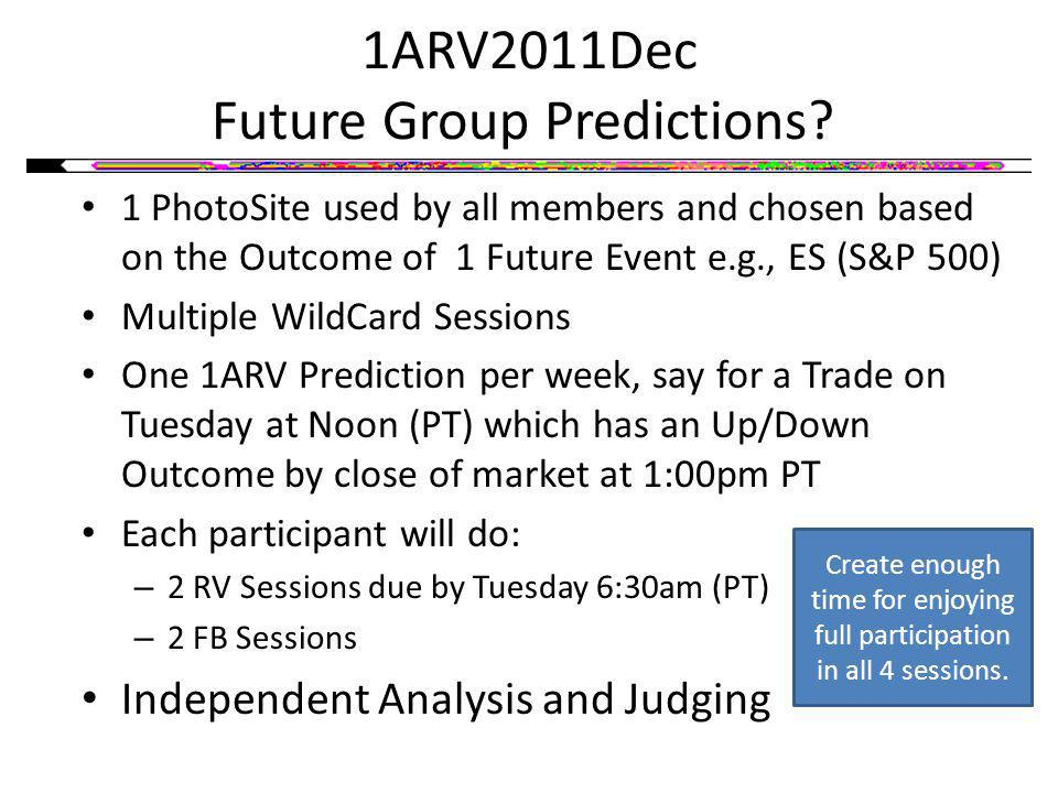1ARV2011Dec Future Group Predictions? 1 PhotoSite used by all members and chosen based on the Outcome of 1 Future Event e.g., ES (S&P 500) Multiple Wi