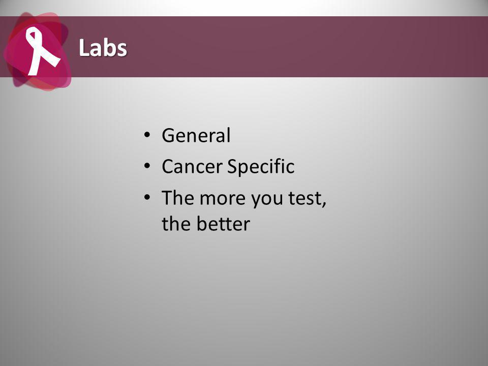 General Cancer Specific The more you test, the better Labs