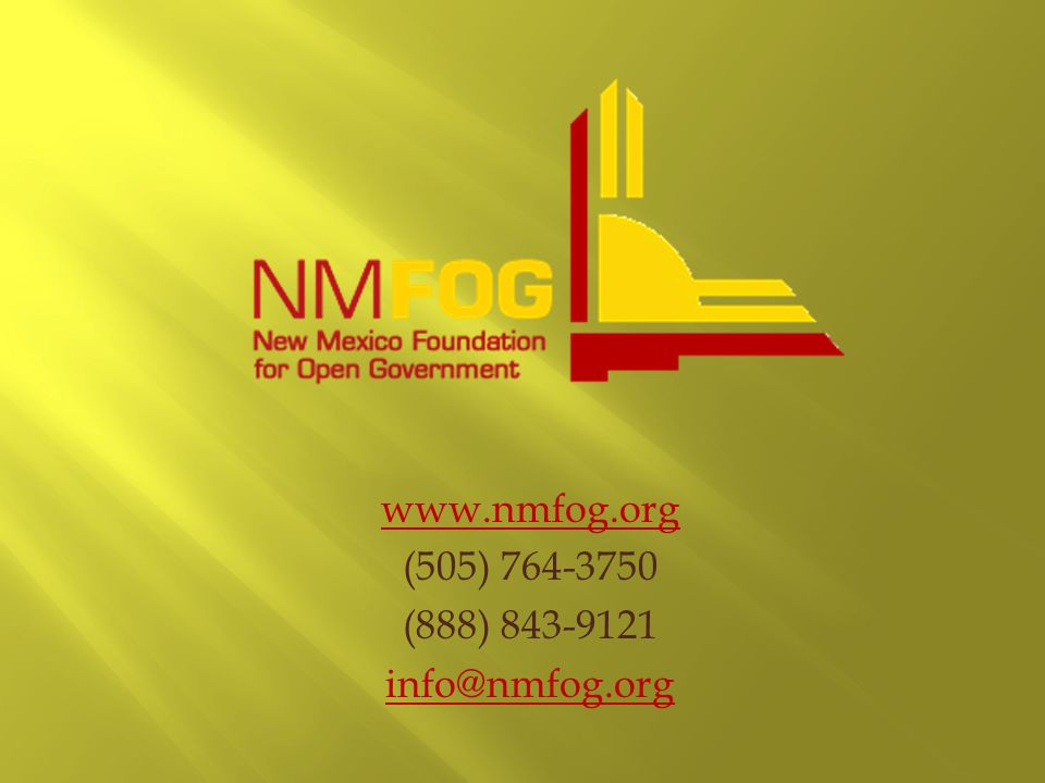 www.nmfog.org (505) 764-3750 (888) 843-9121 info@nmfog.org