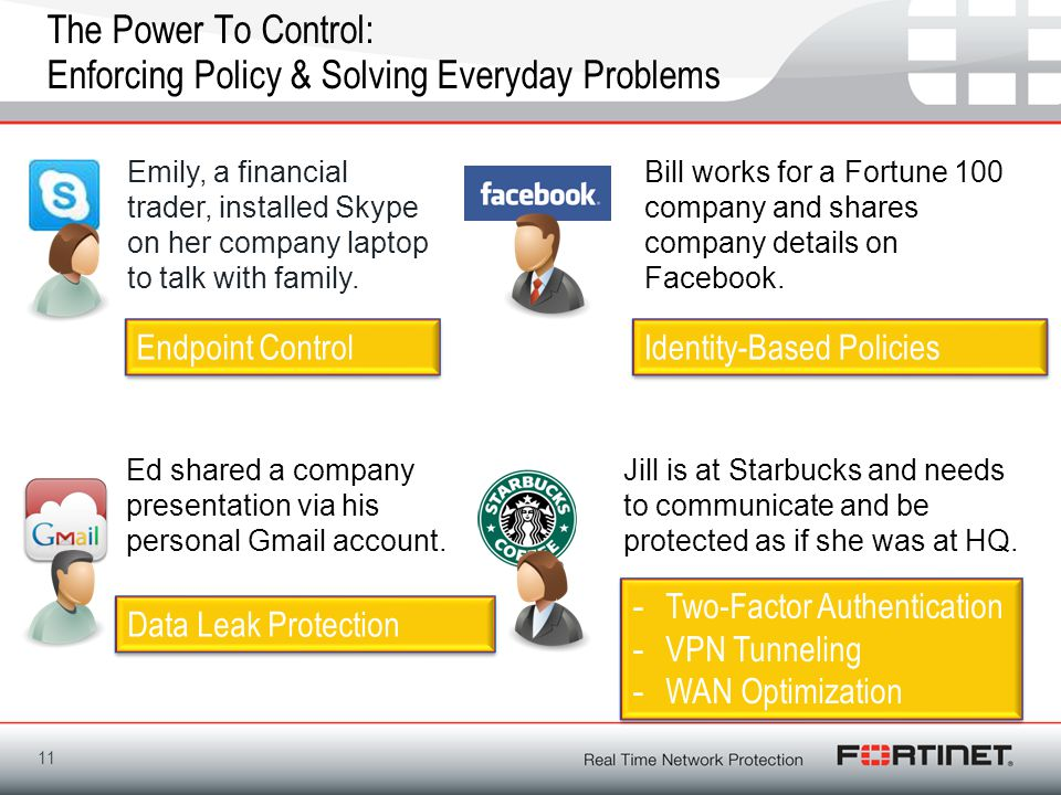 Fortinet Confidential The Power To Control: Enforcing Policy & Solving Everyday Problems 11 Emily, a financial trader, installed Skype on her company