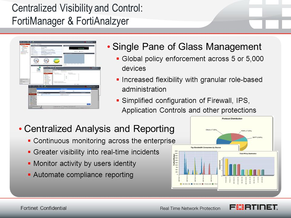 Fortinet Confidential Centralized Visibility and Control: FortiManager & FortiAnalzyer Single Pane of Glass Management Global policy enforcement acros