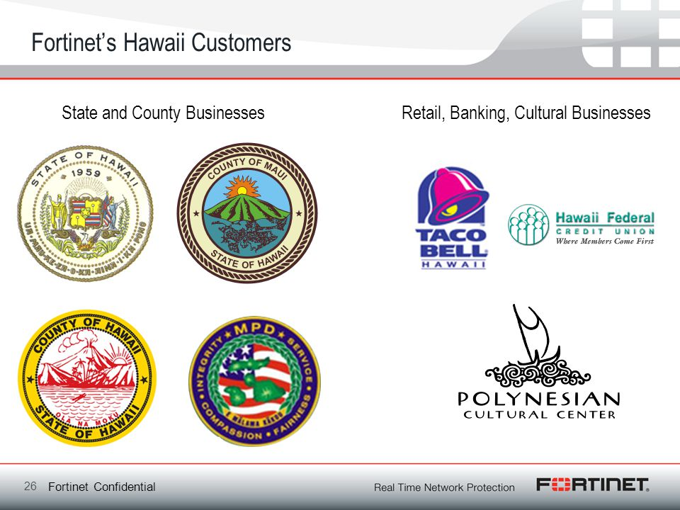 Fortinet Confidential Fortinets Hawaii Customers 26 State and County BusinessesRetail, Banking, Cultural Businesses