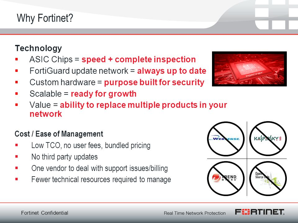 Fortinet Confidential Why Fortinet? Technology ASIC Chips = speed + complete inspection FortiGuard update network = always up to date Custom hardware