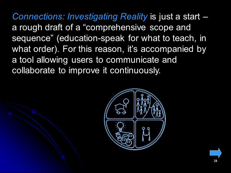 24 Connections: Investigating Reality is just a start – a rough draft of a comprehensive scope and sequence (education-speak for what to teach, in wha
